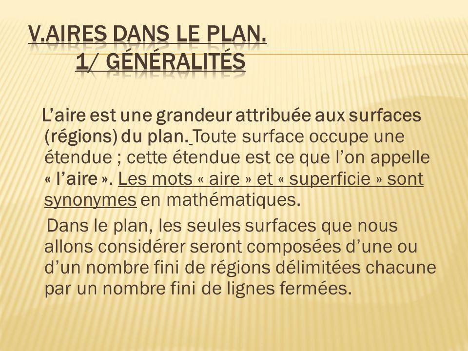 V.Aires dans le plan. 1/ Généralités