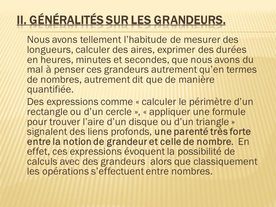 II. Généralités sur les grandeurs.