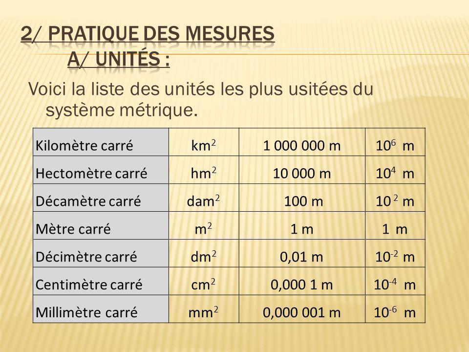 2/ Pratique des mesures a/ Unités :