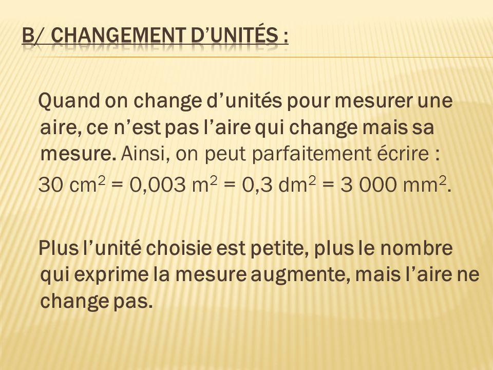 b/ Changement d'unités :
