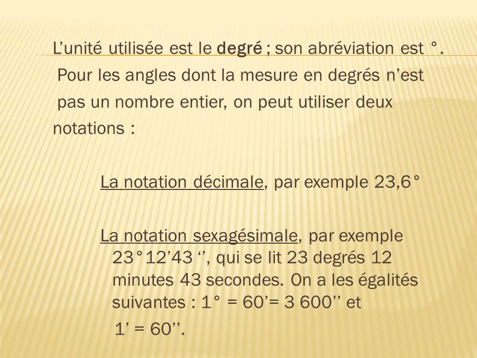 L'unité utilisée est le degré ; son abréviation est °