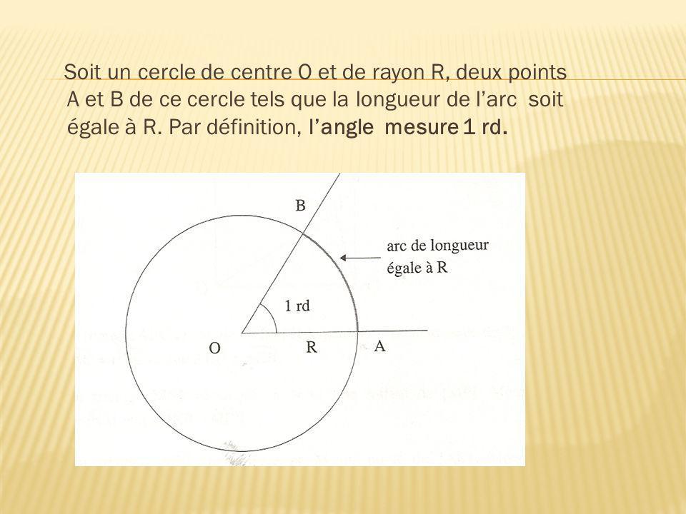 Soit un cercle de centre O et de rayon R, deux points A et B de ce cercle tels que la longueur de l'arc soit égale à R.