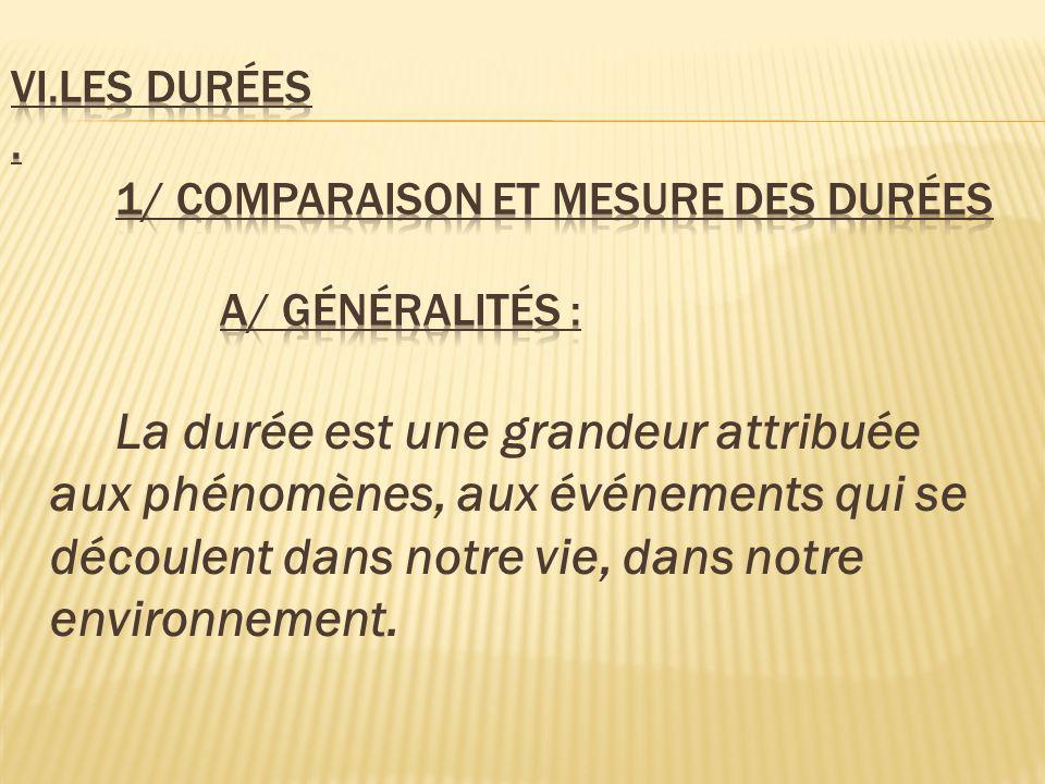 VI.Les durées . 1/ Comparaison et mesure des durées a/ Généralités :