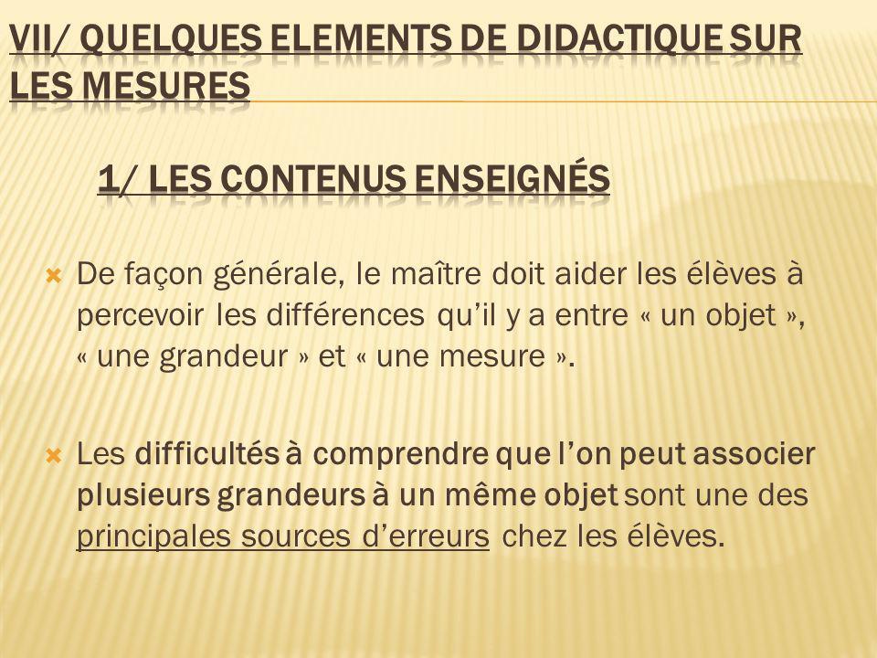 VII/ qUELQUES ELEments de DIDACTIQUE SUR LES MESURES