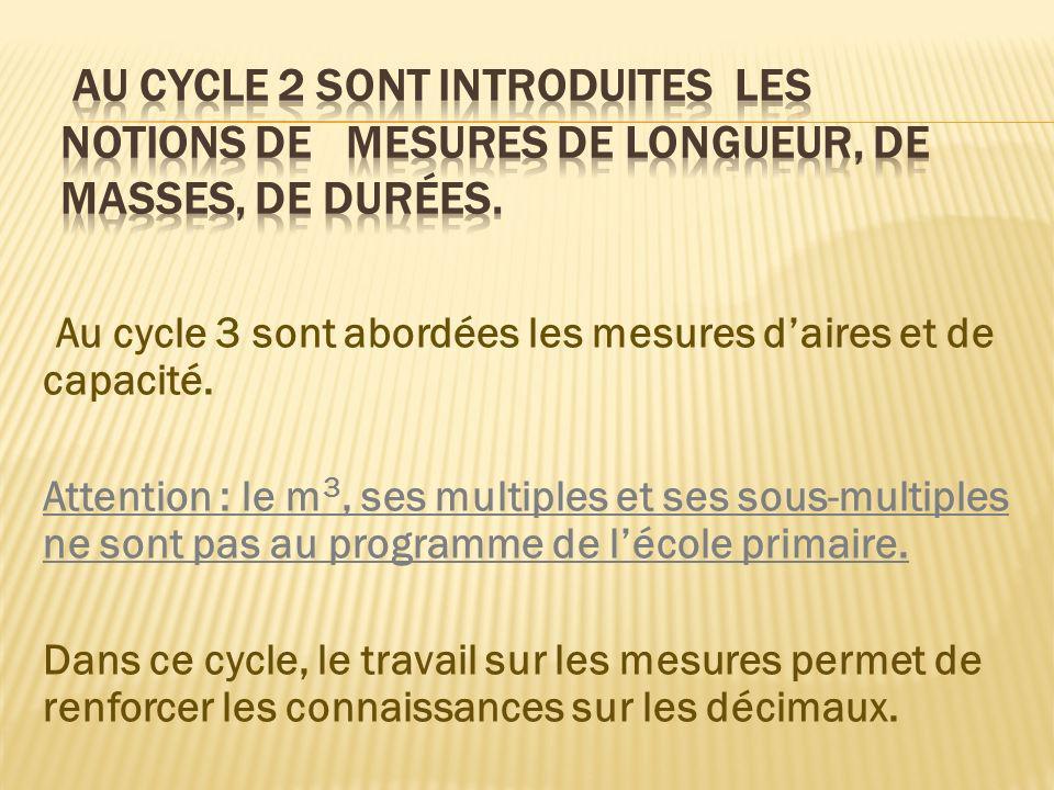 Au cycle 2 sont introduites les notions de mesures de longueur, de masses, de durées.