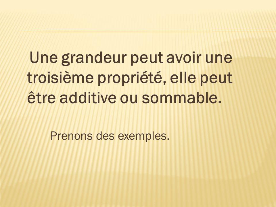 Une grandeur peut avoir une troisième propriété, elle peut être additive ou sommable.
