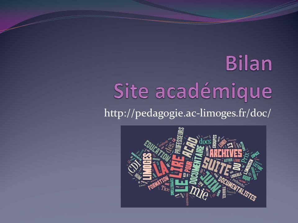 Bilan Site académique http://pedagogie.ac-limoges.fr/doc/