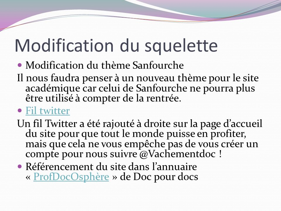 Modification du squelette