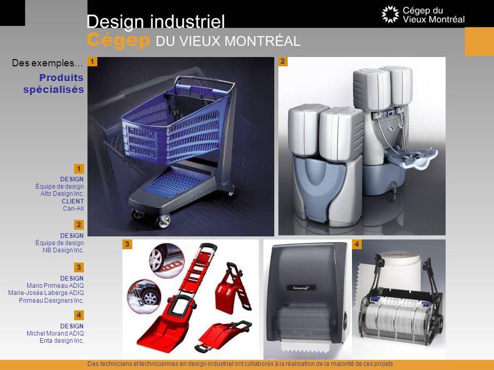 Des exemples… Produits spécialisés 1 2 1 2 3 4 3 4 DESIGN