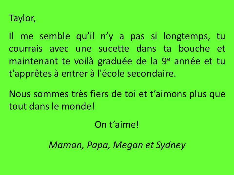 Maman, Papa, Megan et Sydney