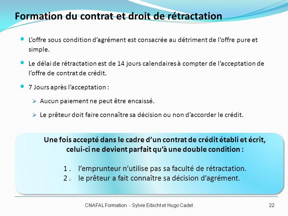 Formation du contrat et droit de rétractation