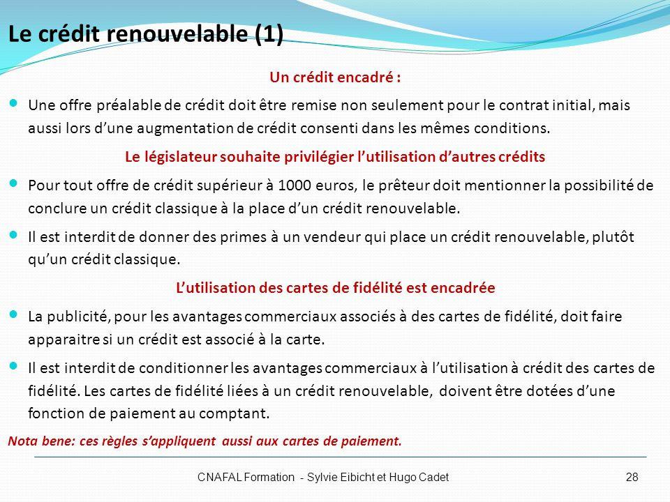 Le crédit renouvelable (1)