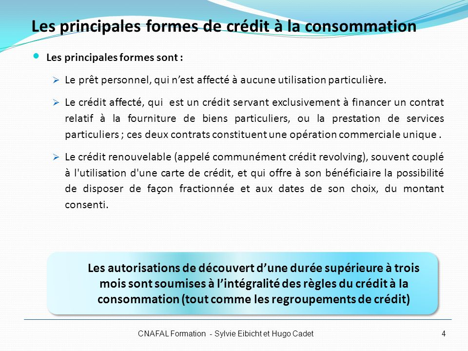 Les principales formes de crédit à la consommation
