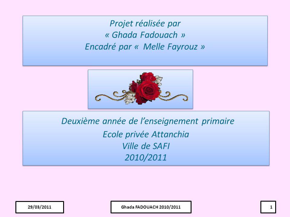 Projet réalisée par « Ghada Fadouach » Encadré par « Melle Fayrouz »