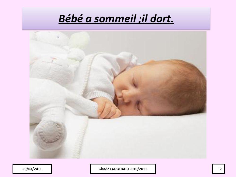 Bébé a sommeil ;il dort. 29/03/2011 29/03/2011