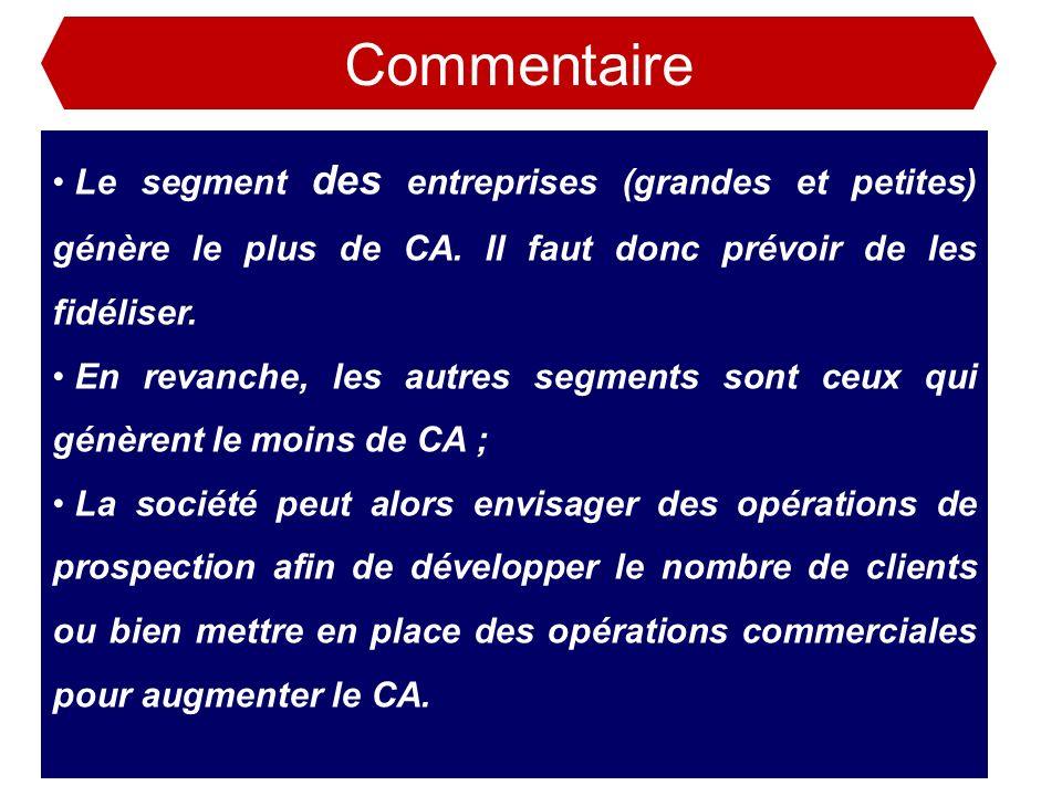 Commentaire Le segment des entreprises (grandes et petites) génère le plus de CA. Il faut donc prévoir de les fidéliser.