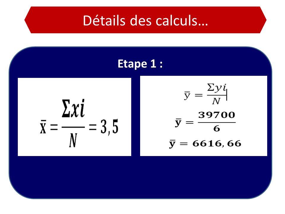 Détails des calculs… Etape 1 :