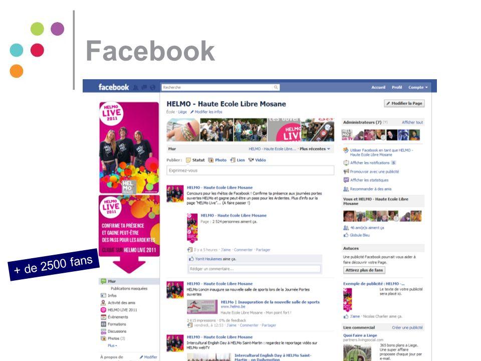 Facebook + de 2500 fans