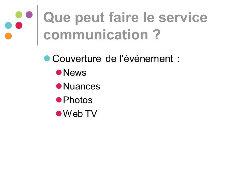 Que peut faire le service communication