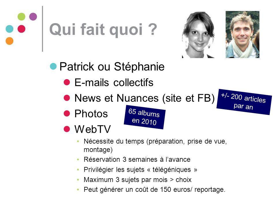 Qui fait quoi Patrick ou Stéphanie E-mails collectifs