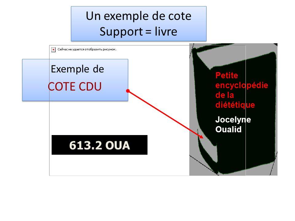 Un exemple de cote Support = livre