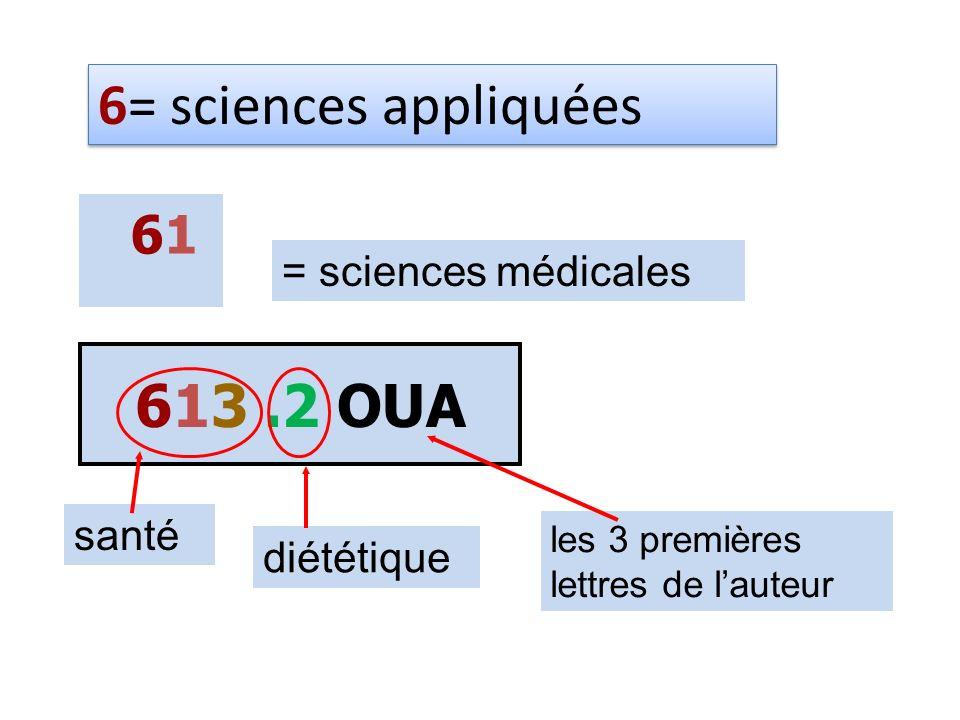 6= sciences appliquées 61 613 .2 OUA = sciences médicales santé