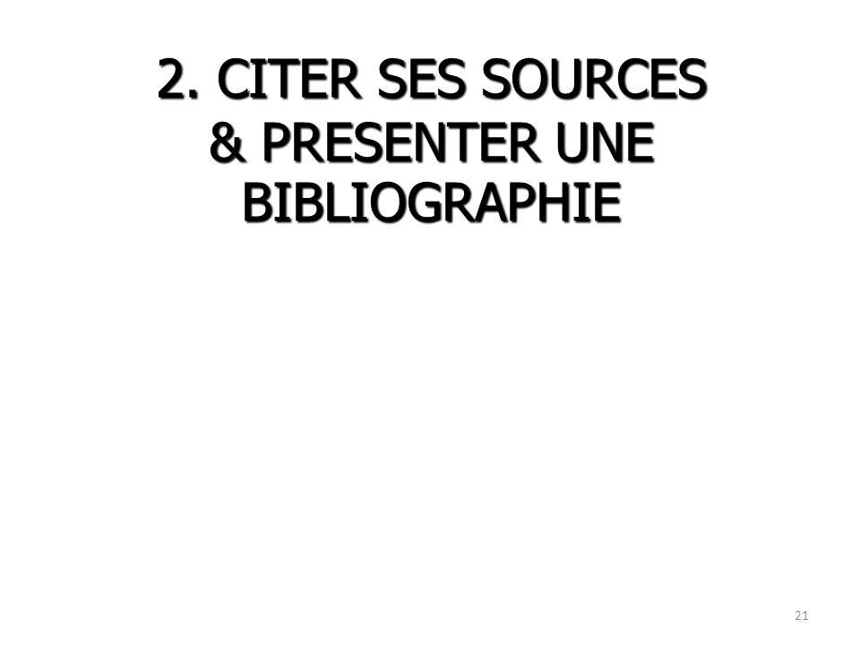 2. CITER SES SOURCES & PRESENTER UNE BIBLIOGRAPHIE
