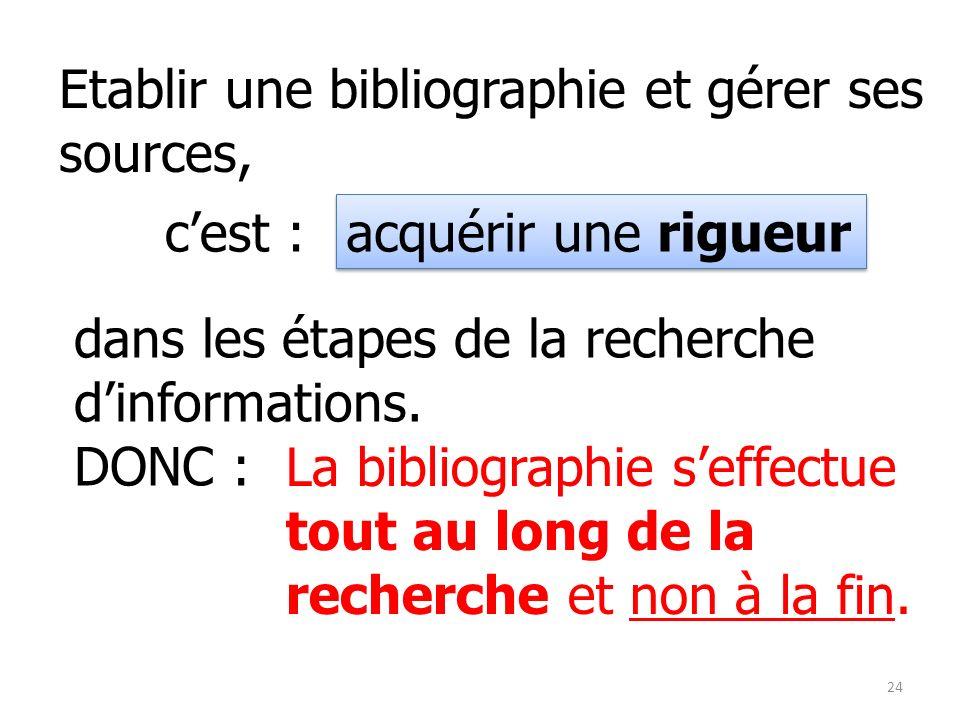 Etablir une bibliographie et gérer ses sources,