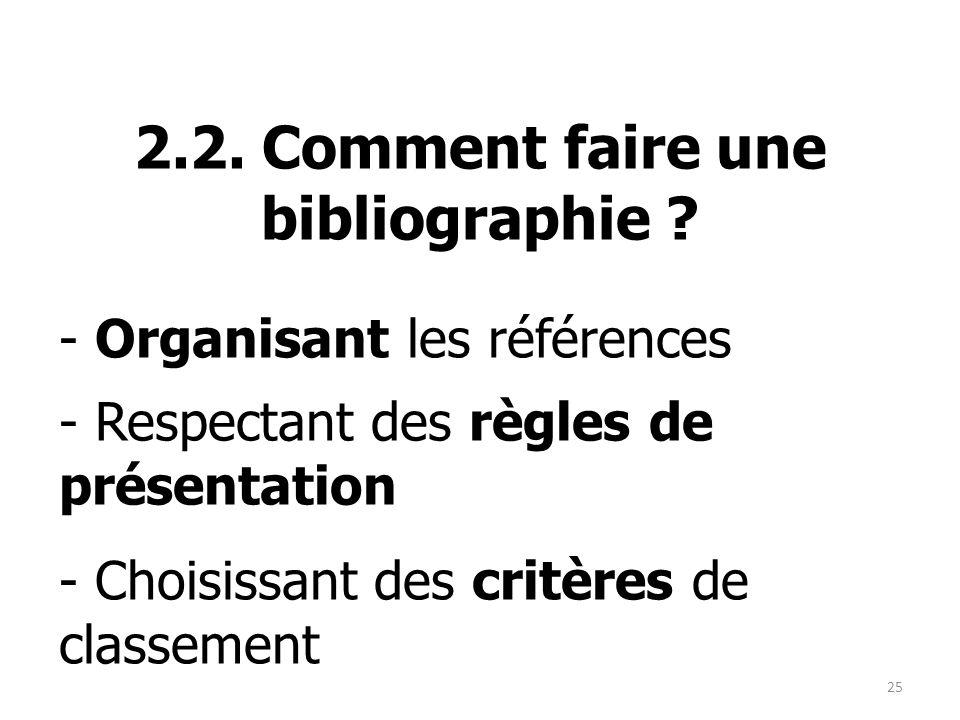 2.2. Comment faire une bibliographie