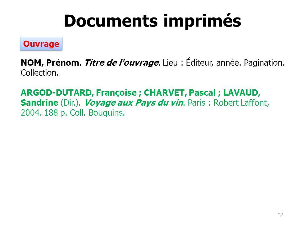 Documents imprimés Ouvrage