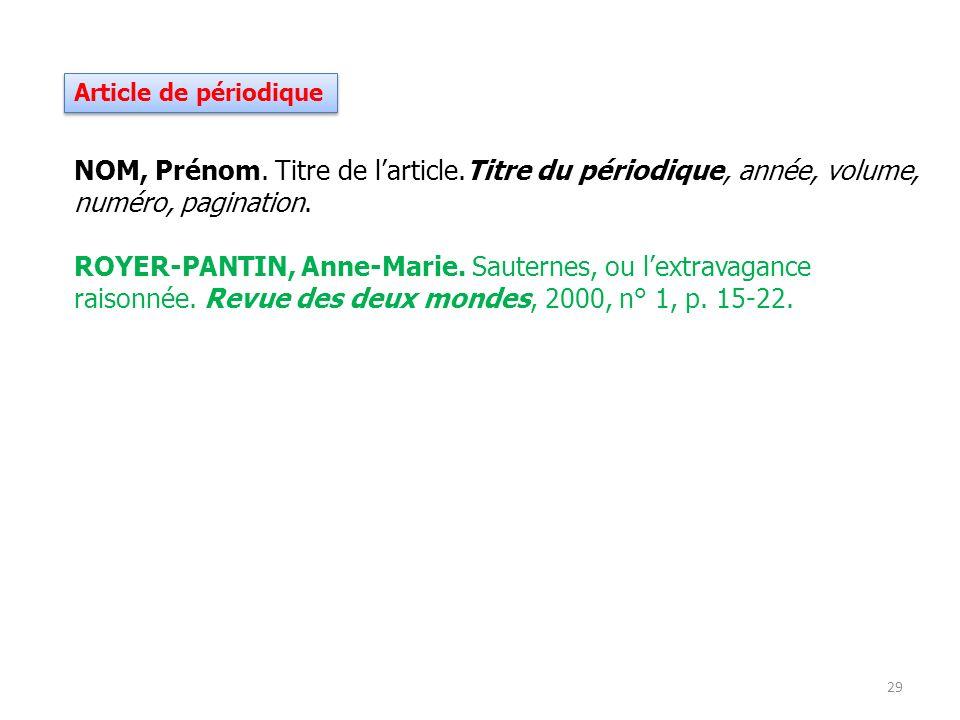 Article de périodique NOM, Prénom. Titre de l'article.Titre du périodique, année, volume, numéro, pagination.