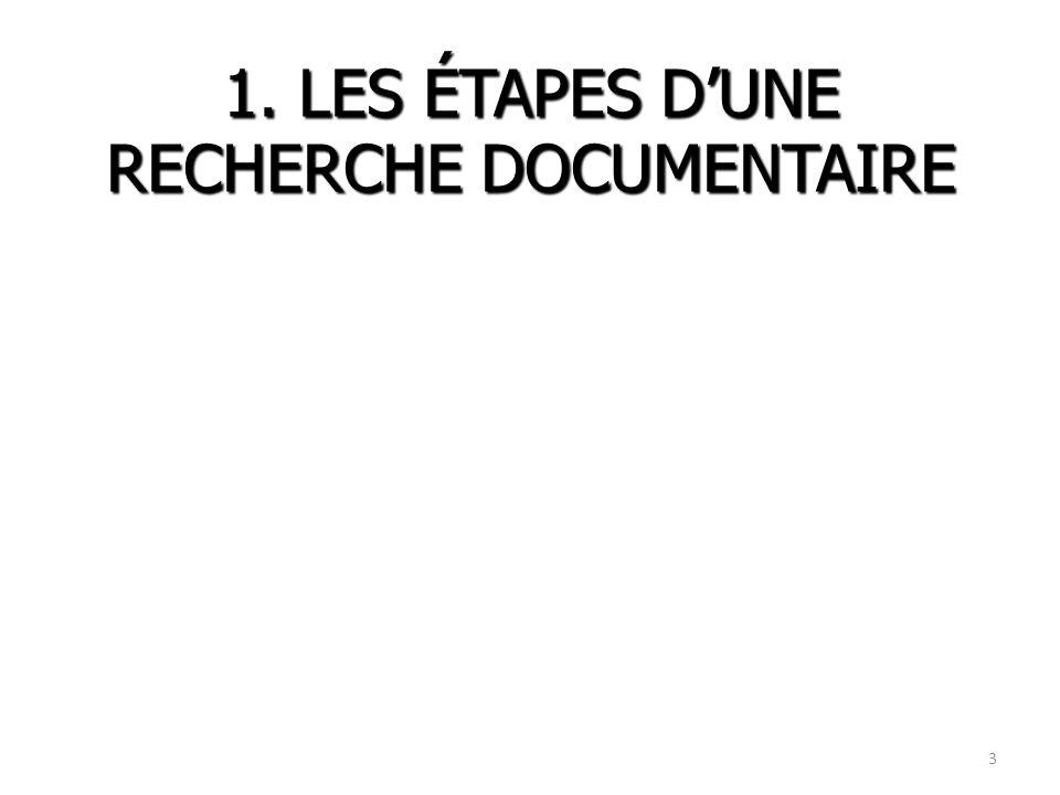 1. LES ÉTAPES D'UNE RECHERCHE DOCUMENTAIRE