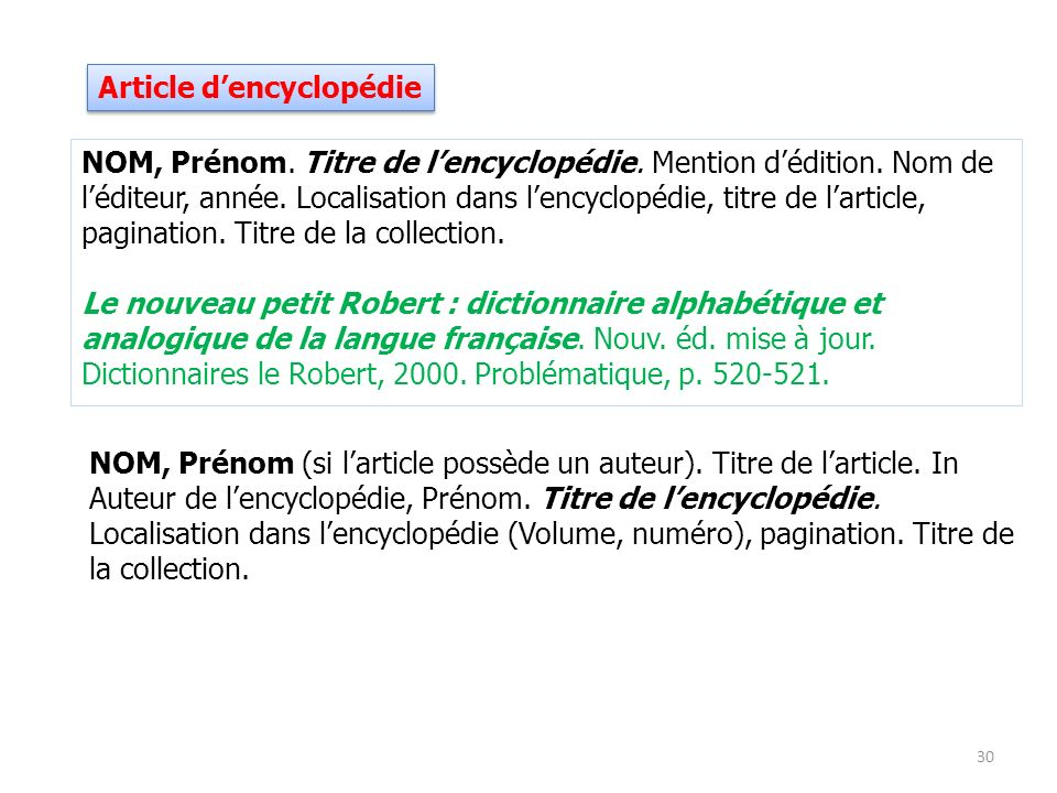 Article d'encyclopédie