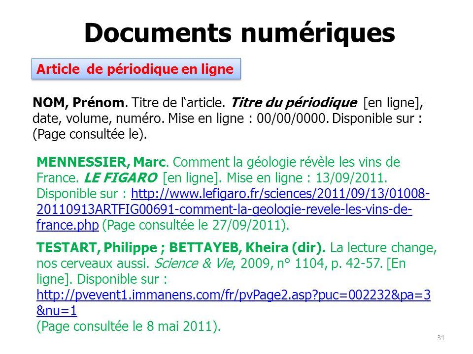 Documents numériques Article de périodique en ligne