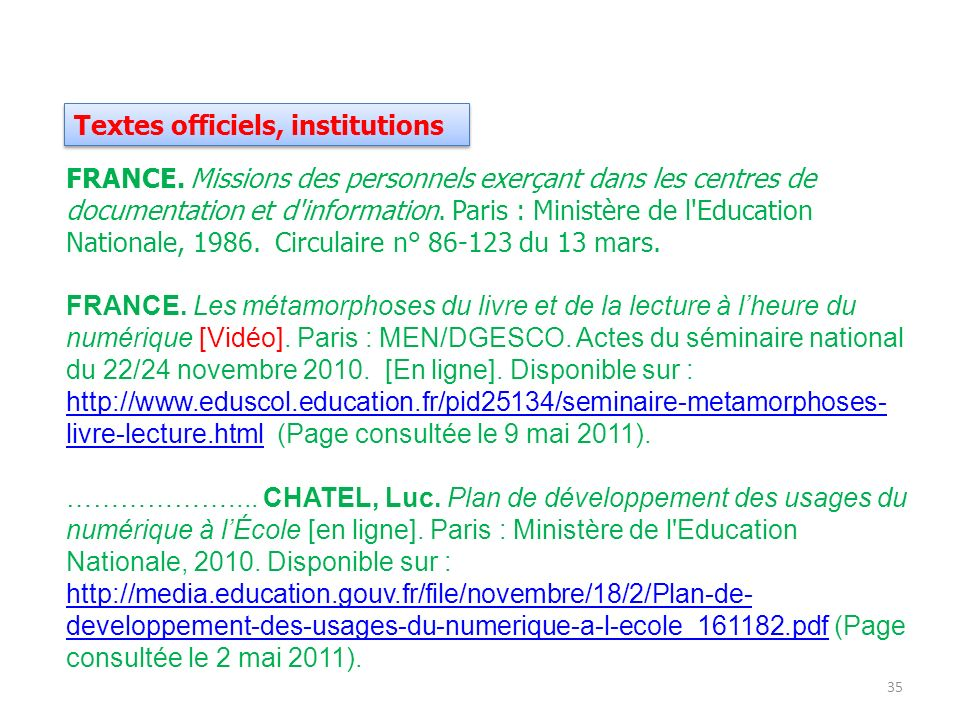 Textes officiels, institutions