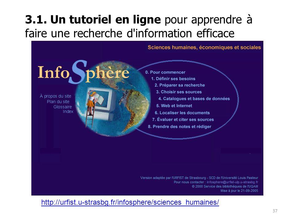 3.1. Un tutoriel en ligne pour apprendre à faire une recherche d information efficace