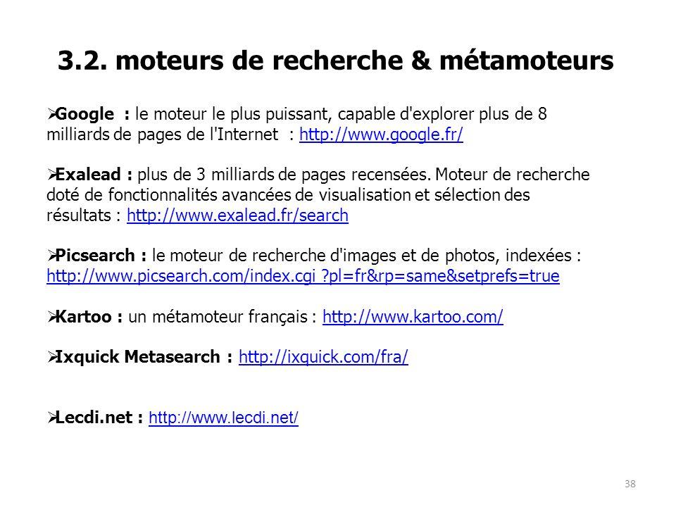 3.2. moteurs de recherche & métamoteurs