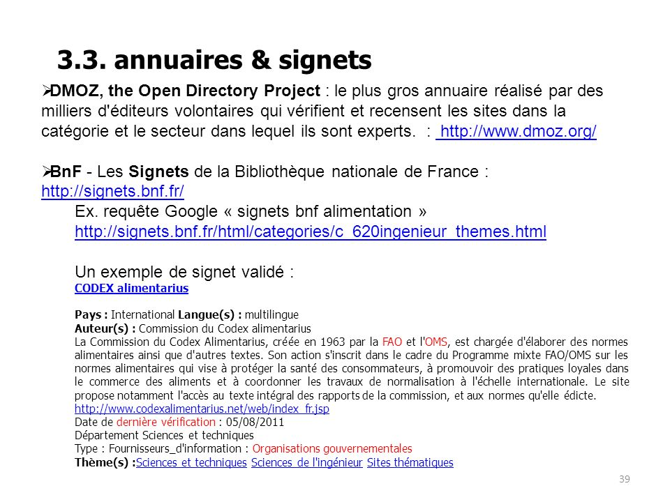 3.3. annuaires & signets