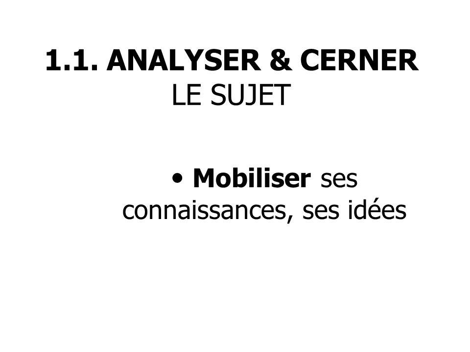 1.1. ANALYSER & CERNER LE SUJET