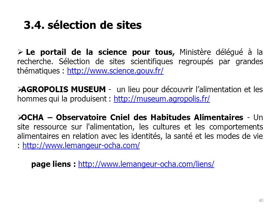 3.4. sélection de sites
