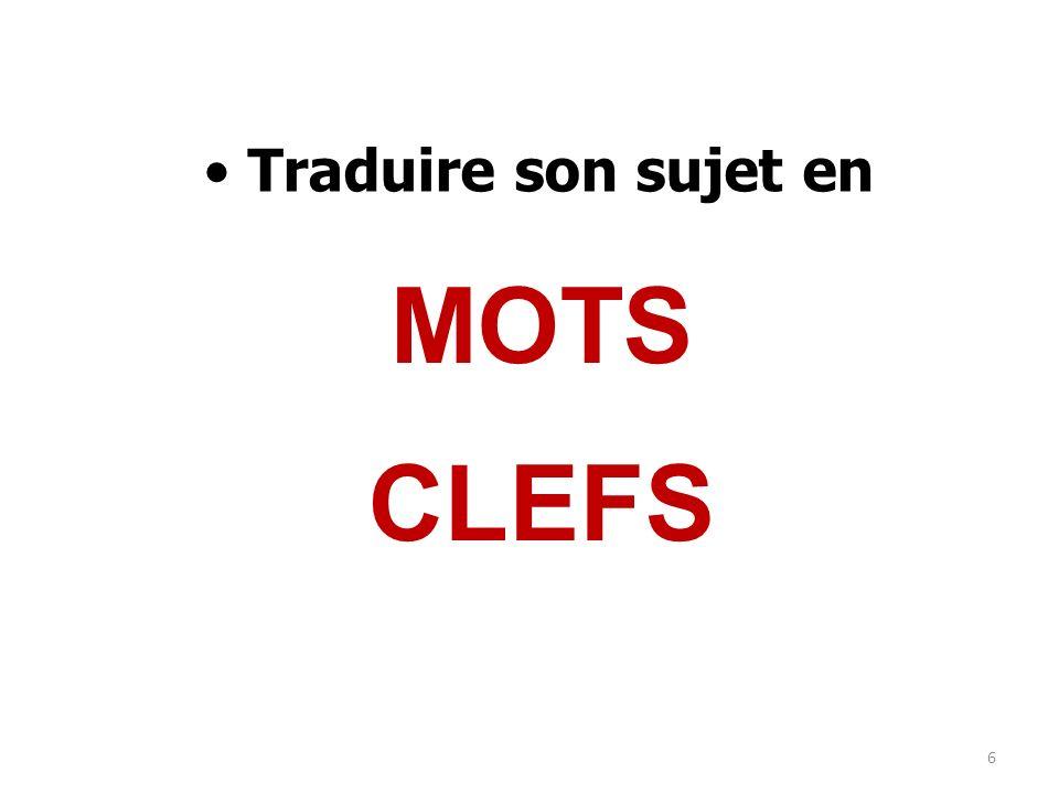 Traduire son sujet en MOTS CLEFS