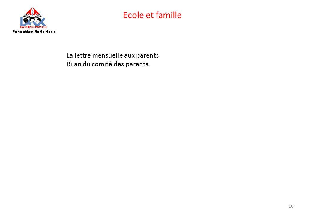 Ecole et famille La lettre mensuelle aux parents