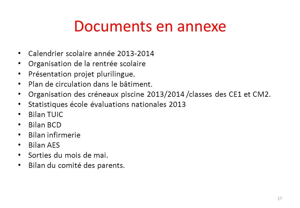 Documents en annexe Calendrier scolaire année 2013-2014