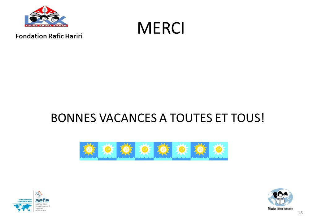 MERCI Fondation Rafic Hariri BONNES VACANCES A TOUTES ET TOUS!