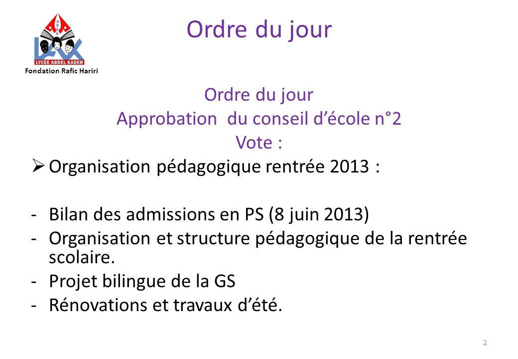 Approbation du conseil d'école n°2