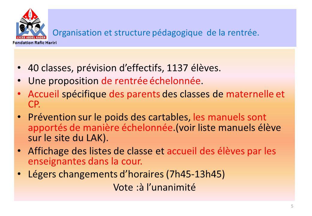 Organisation et structure pédagogique de la rentrée.