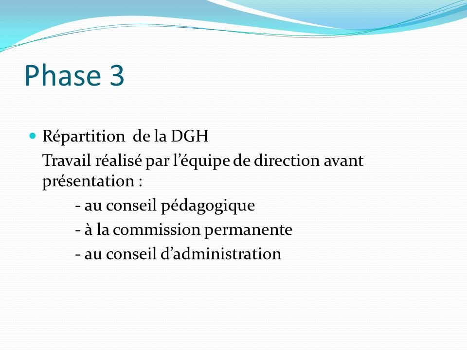Phase 3 Répartition de la DGH