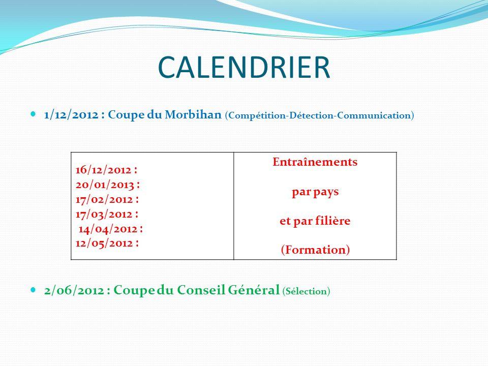 CALENDRIER 1/12/2012 : Coupe du Morbihan (Compétition-Détection-Communication) 2/06/2012 : Coupe du Conseil Général (Sélection)