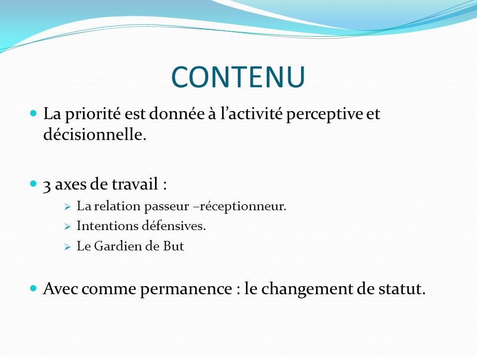 CONTENU La priorité est donnée à l'activité perceptive et décisionnelle. 3 axes de travail : La relation passeur –réceptionneur.