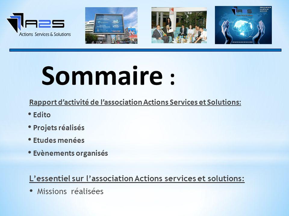 Sommaire : Rapport d'activité de l'association Actions Services et Solutions: Edito. Projets réalisés.